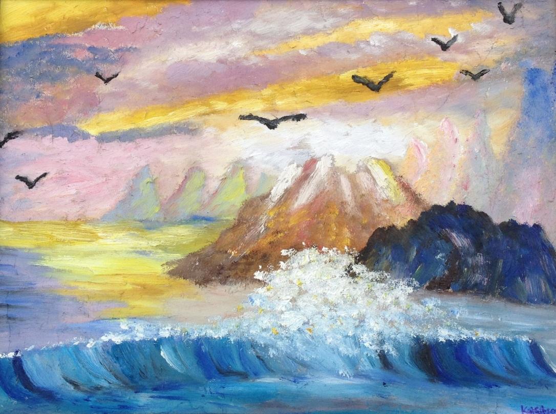 01 £80 Seagull View, oil on wooden board, framed.JPG