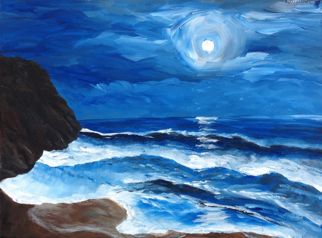 16 £65 Rough Sea, acrylic on 30x40cm canvas