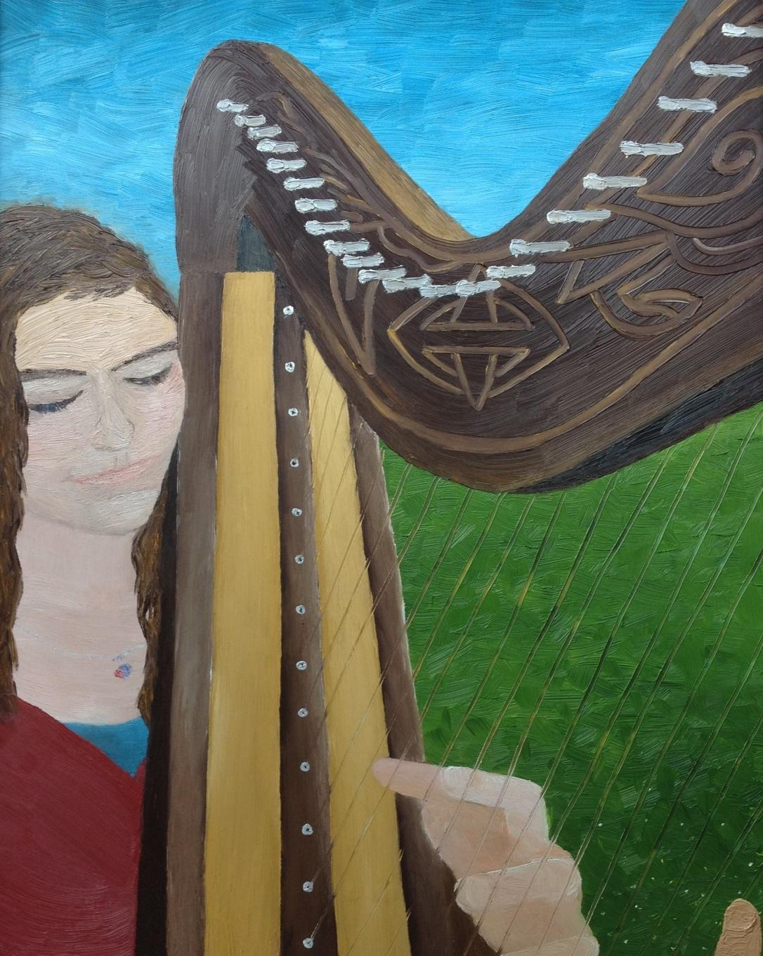 03 £70 Harp Player, oil on wooden board framed