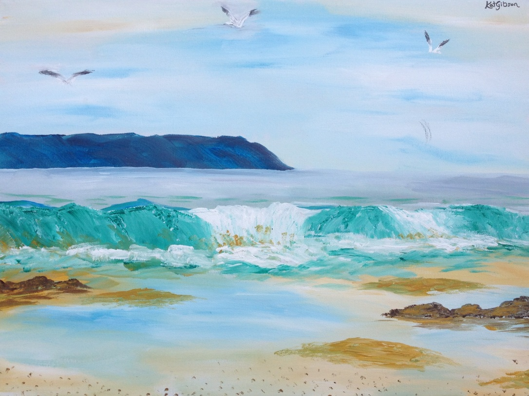 06 £60 Breaking Wave, acrylic on 30x40cm canvas