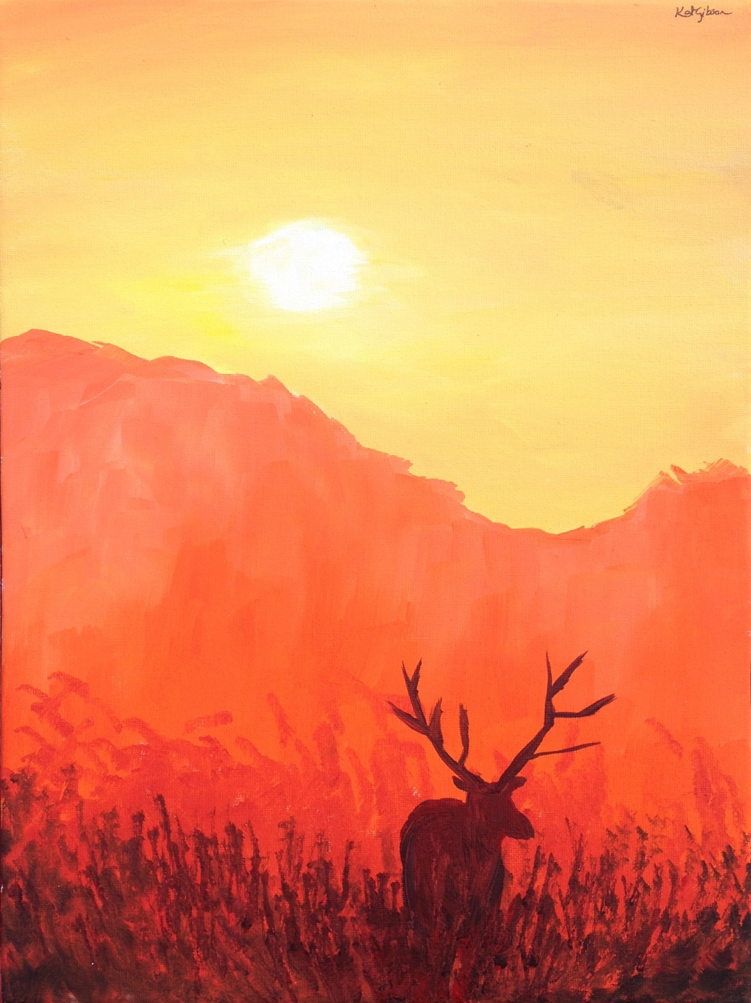 12 £65 Red Deer, acrylic on 30x40cm canvas