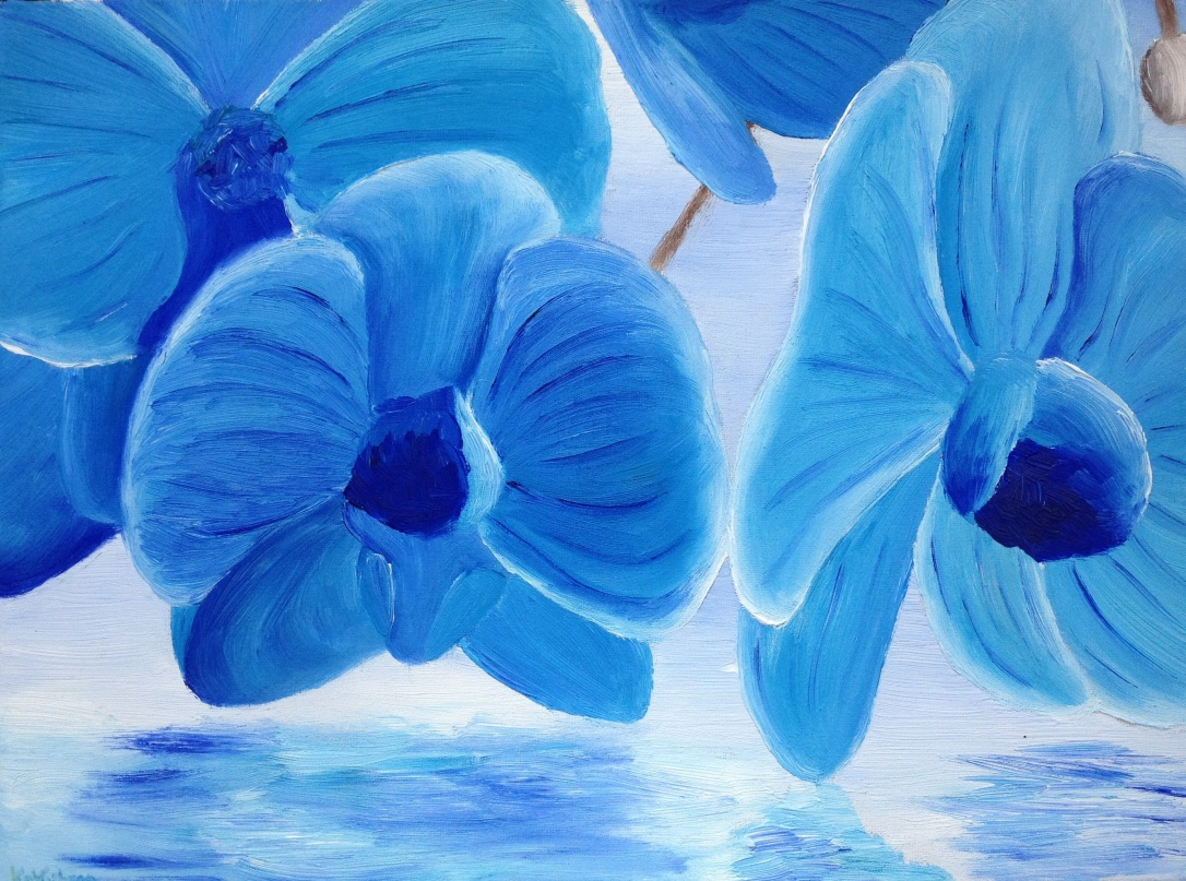 14 £60 Blue Orchid, oil on 30x40cm canvas