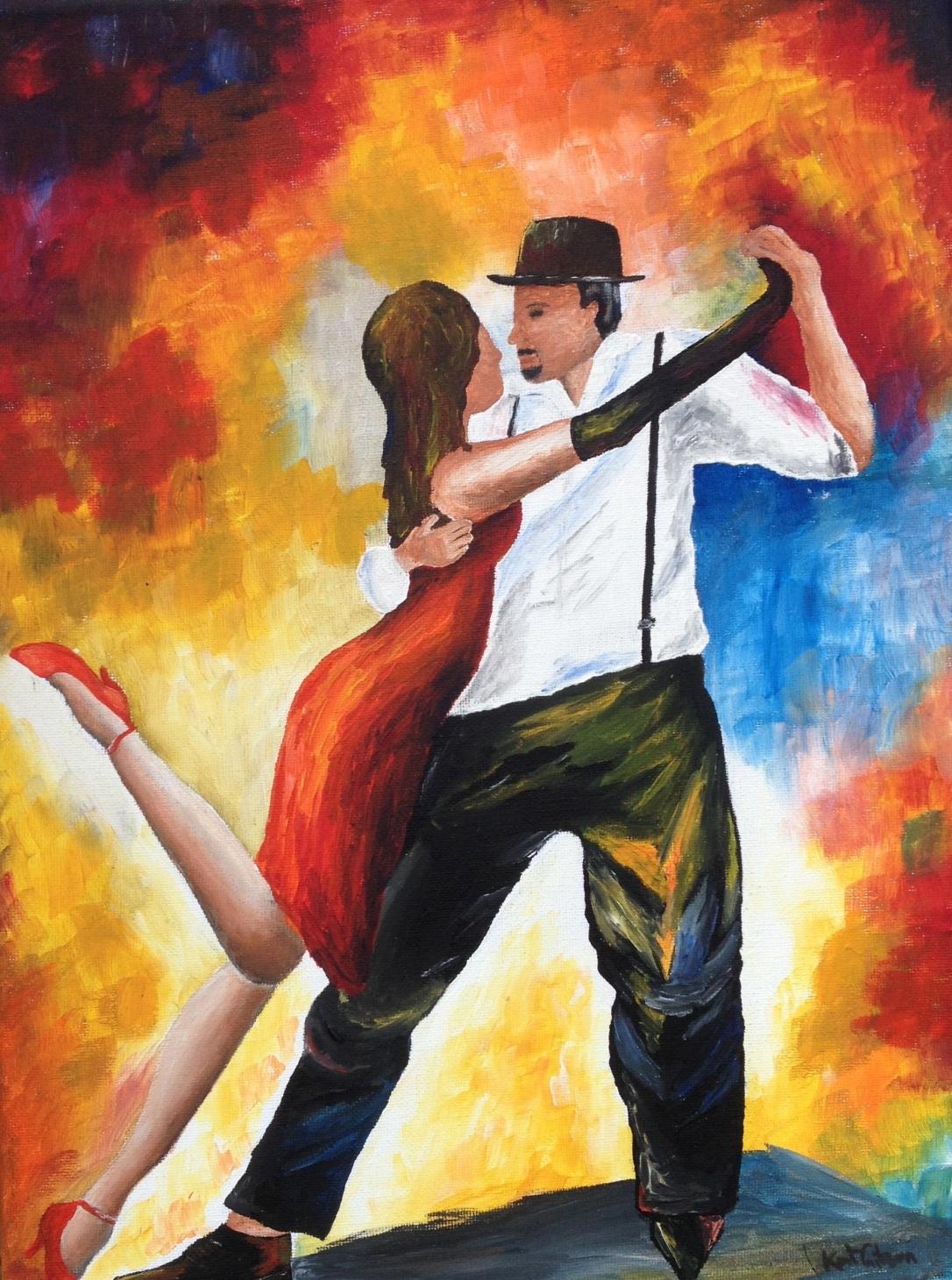 £100 Dancing at Dawn, acrylic on 30x40cm canvas