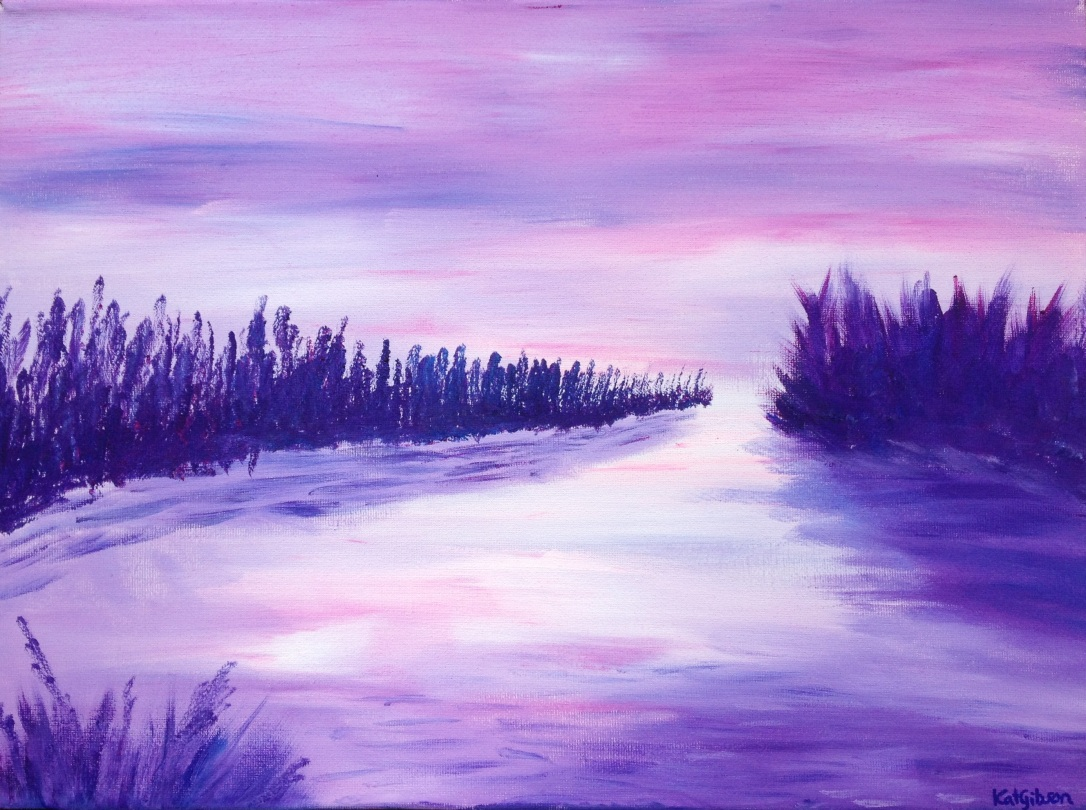 £50 Purple Lake, acrylic on 30x40cm canvas