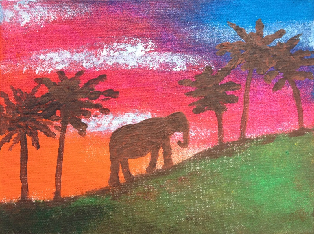 £55 Elephant, acrylic on 24x30cm canvas