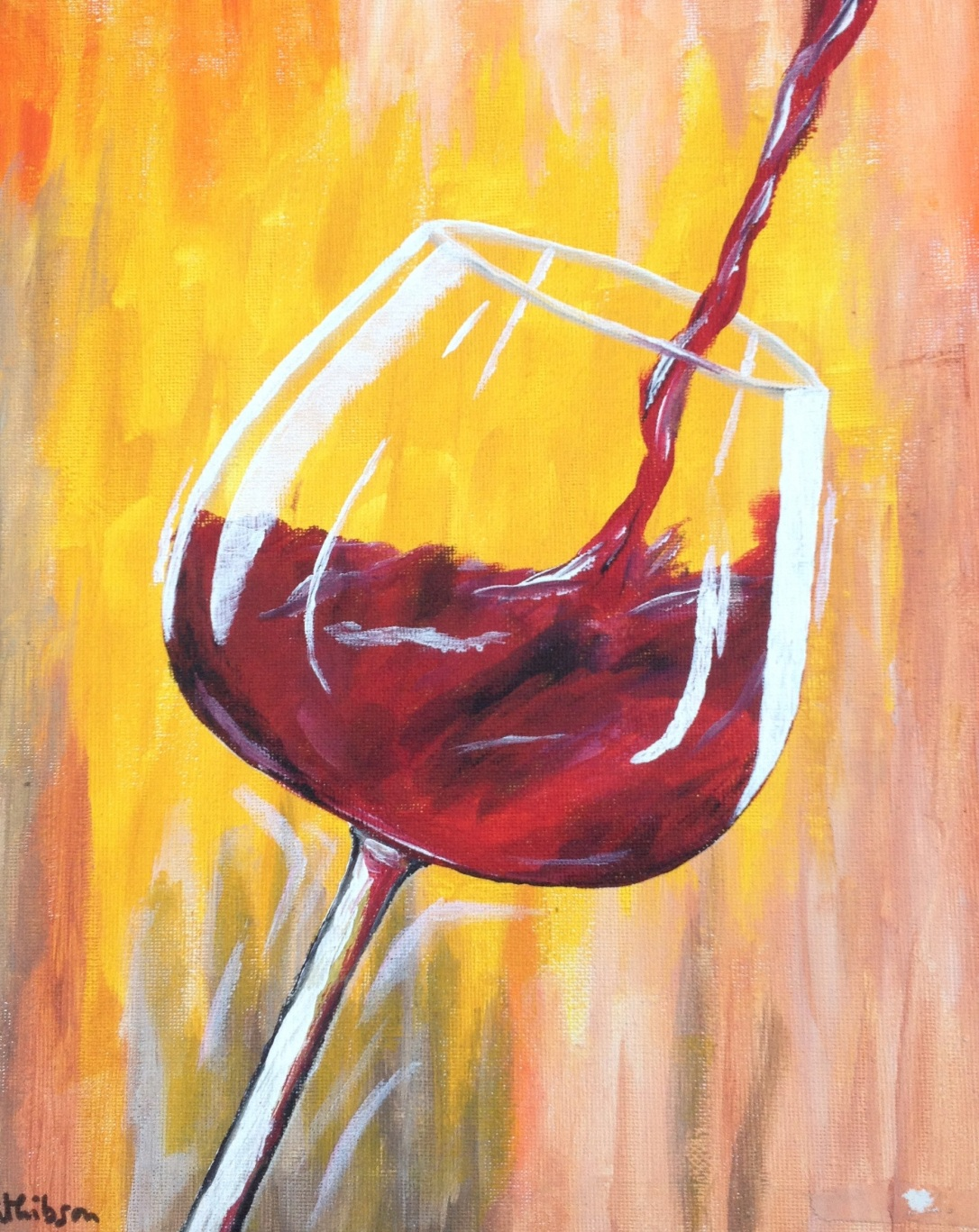 £60 Red Wine, acrylic on 24x30cm canvas