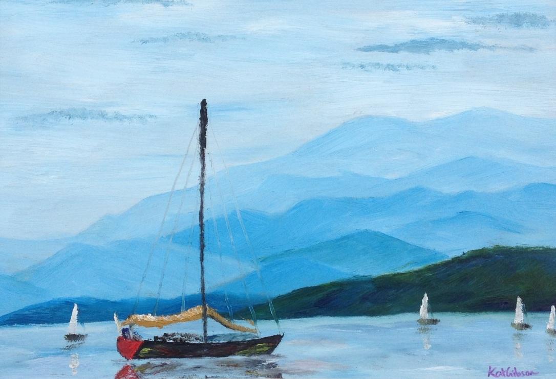 £60 Sailing, oil on wooden board, framed