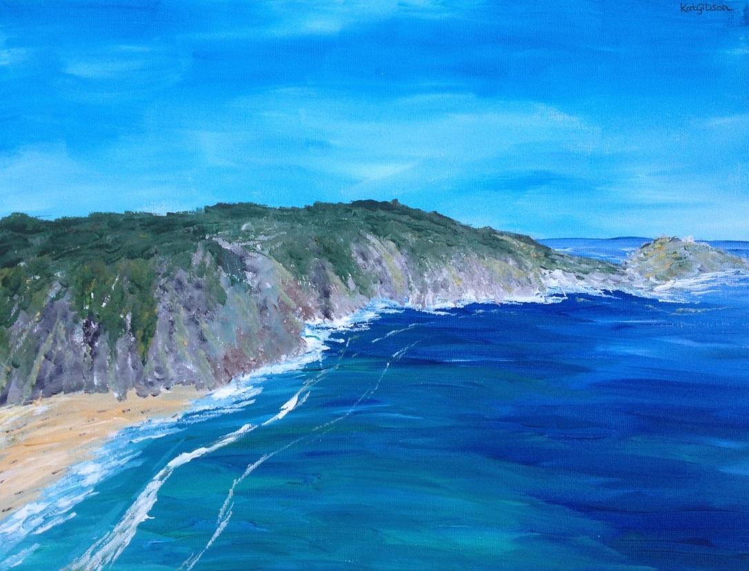 £75 Porthcurno, acrylic on 30x40cm canvas