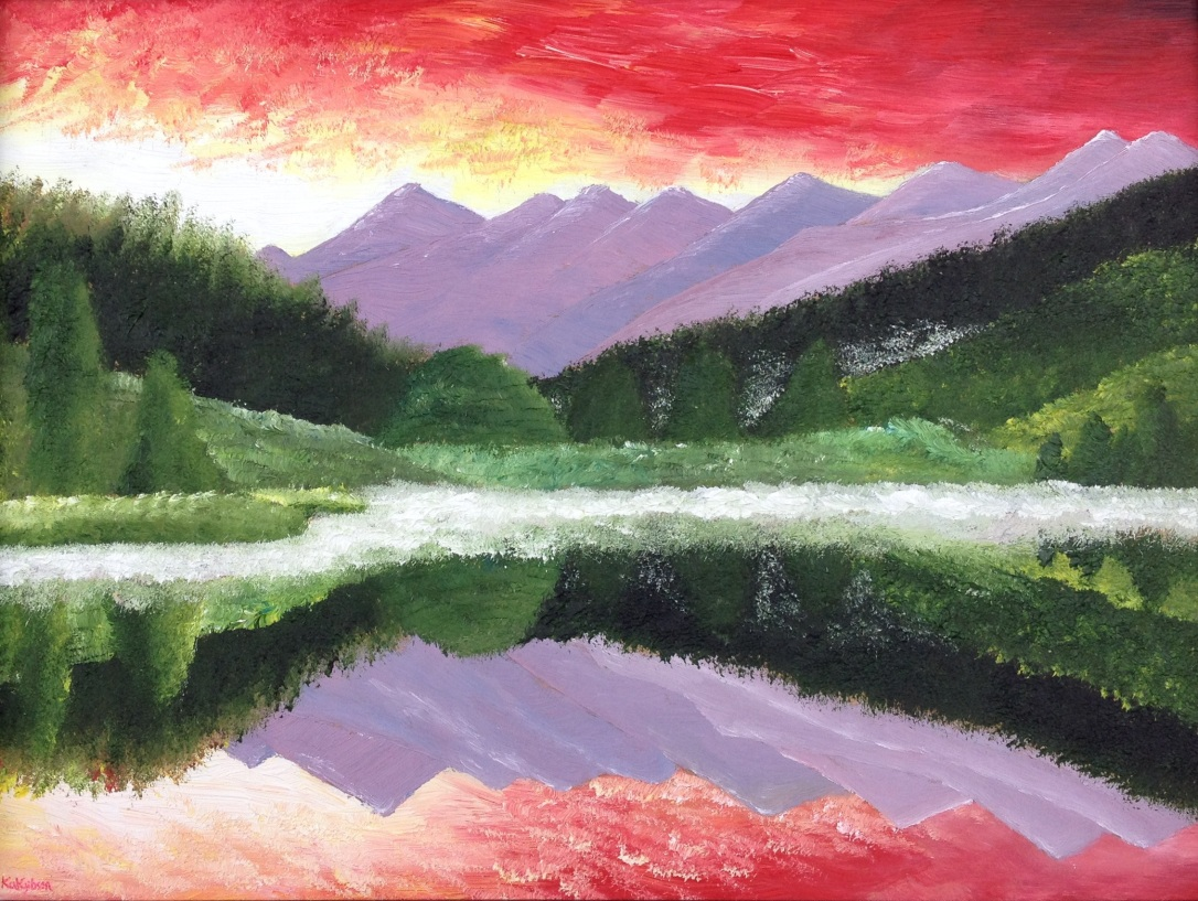 £80 Moutains, oil on wooden board, framed