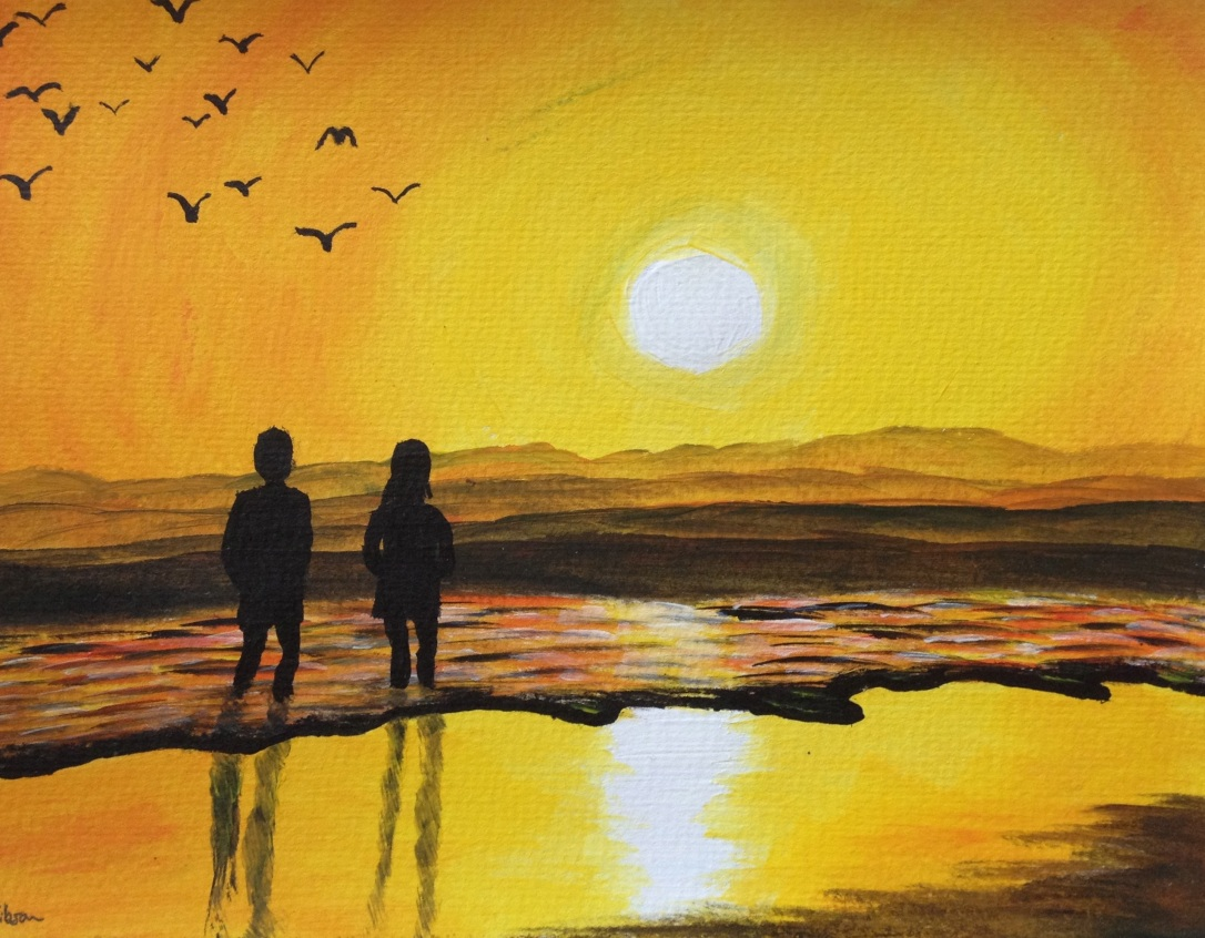 Sunset beach walk 10.5x7.5 without mount